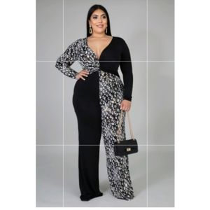 Cheatah black & white jumpsuit